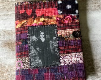 COMPOSITION Notebook Book Cover - quilted fabric collage - Goth Girl