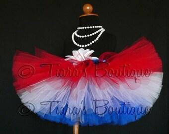 SUMMER SALE 20% OFF All American Tutu - Red White Blue Custom Sewn 8'' Tutu - sizes Newborn to 5T