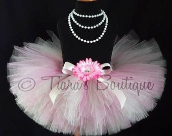 "SUMMER SALE 20% OFF Girls Tutu - Pink Gray/Silver Tutu - Cherished - Custom 8"" Sewn Tutu -sizes up to 5T - Christmas Tutu Valentine's Day Tu"