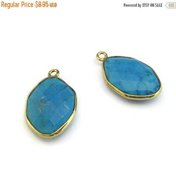 SALE 50% off - One Turquoise Charm, Gold Plated Bezel, Hexagon Shape, 20mm x 13mm, Gemstone Charm, Jewelry Supplies (C-Tq1b)