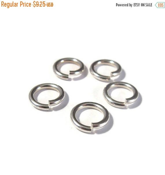 Summer SALEabration - 10mm Open Rings, 5 Hard Snap .925 Sterling Silver Jump Rings, 14 Gauge, Jewelry Findings, Connectors, Strong Big Jump