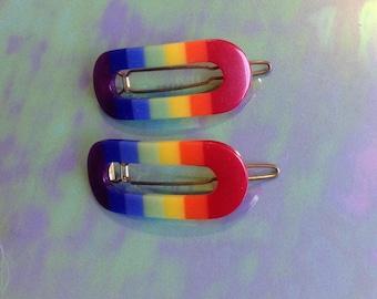 Vintage Barrettes Rainbow Plastic and Metal