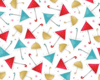 """Santoro, Kori Kumi -The Gift of Friends collection, """"Umbrellas"""" in White from Quilting Treasures, yard"""