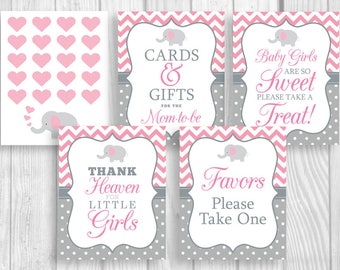 Pink and Gray Printable Girl's Elephant Baby Shower Sign Bundle - Guest Book, Gift Table, Favor Table and More - Instant Download