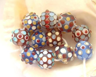 11 Etched Handmade Lampwork Beads