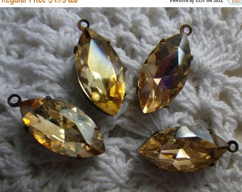 SALE 30% Off Crystal Golden Shadow 18X9mm Navette Glass Drops 4 Pcs