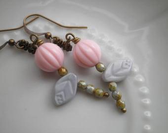 Floral Dangle Earrings - Czech Glass Flower Bead Dangles - Pale Pink Rose Bud & Light Gray Leaf Bohemian Flowers - Boho Jewelry Gift For Her