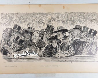 "Charles Gibson Print 1904 At the Horse Show & Art is Long 11"" x 17"" Book Print"