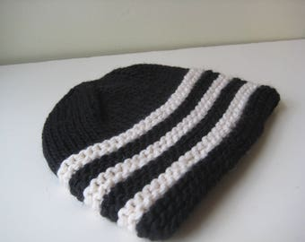 black and white knit cap hand knit hat