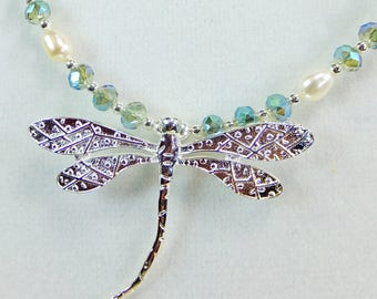 Silver Plated Pewter Dragonfly Pendant with Freshwater Pearls Sparkling Pale Green Cut Crystal Beads Necklace