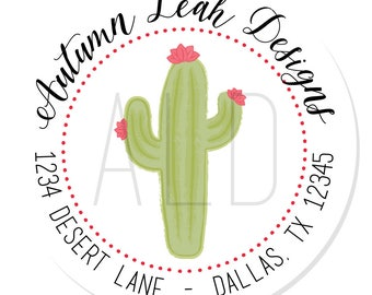 Personalized Stickers -- Cactus -- Personalized Label, Cactus Sticker, Address Label -- Choice of Size