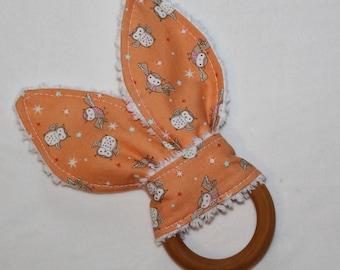 Orange Tossed Owls Rabbit Ears Maple Teething Ring