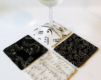 Wine Glass Coasters Music Notes in Black, White, and Gold - Set of 4