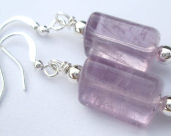 Pierced Earrings Triangular Cut Fluorite Amethyst gemstone Gift for Her handmade pierced dangle earrings by Ziporgiabella
