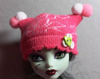 Floral Pink Puff Knit Hat for Monster High or Puki Fee Real Puki Yo SD