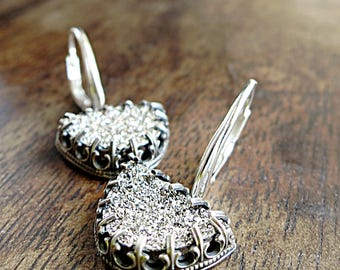 Platinum Drusy earrings, Sterling Silver, crown setting, lever backs, One of a Kind