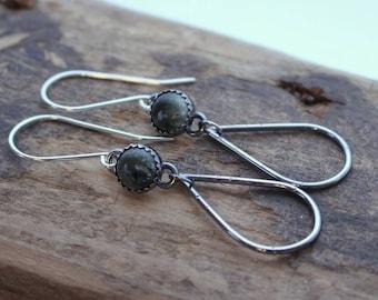 Seraphinite Green Sterling Silver Dangle Earrings
