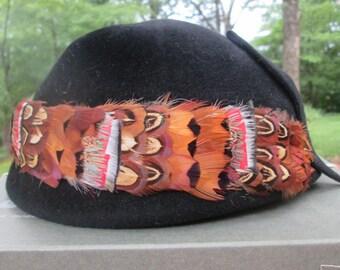 Vintage Ladies Kutz Hat - Black Velour With Feather Band - 1960s Fashion
