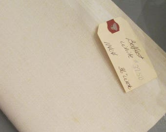 White Belfast Linen For Embroidery/ Needlework - 1 1/2 Yards 36 Inches Wide - Destash
