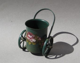 Vintage Tole Pencil Holder Miniature Wheeled Push Cart Toleware Flower Cart Cottage Decor