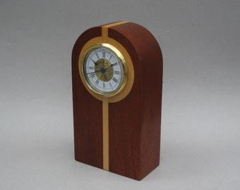 Wood Mantel Clock 1990s Vintage Handmade Segmented Wood Clock Wood Table Clock