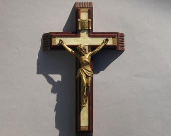 Vintage Crucifix Catholic Sick Call Set Last Rites Wall Hanging Wood & Metal Crucifix with Candles