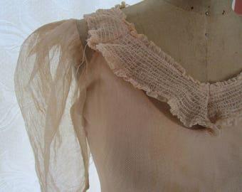 Bias 1930s Mesh Dress Slip Vintage Ivory Satin Bridal Tea Train Tiny Button Back