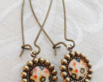 50% Off Clearance Sale, Abstract, Multi-colored, Vintage Glass Earrings