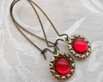 50% Off Clearance Sale, Ruby Red, Antique Brass Finish, Vintage Glass Earrings