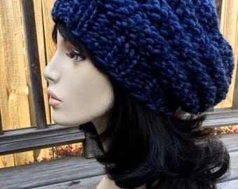 Beehive Womens Knit Hat Slouchy Hat Beehive Hat Jeans Color Knit Beehive Womens Chunky Slouchy Women Slouchy Tam Knit Beehive