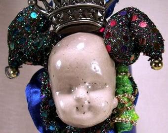 Cryptic Misunderstood Mardi Gras Jester Huge Bauble Artisan Art Cuff Bracelet Large Bold Bangle Wear If You Dare OOAK Outlandish Blue Oddity
