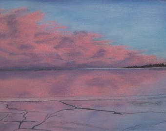 "Original pastel painting ""Daybreak on Amherst Island Number One"" 8"" x 11"" neither mat nor frame are included"
