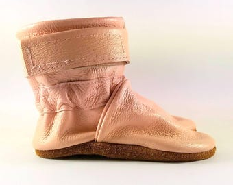 18 to 24 Month Soft Sole Pink Leather Baby Boots