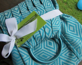 Ring Sling Wrap Conversion Carrier, Baby to Newborn, Little Frog Azure Cube Jacquard Woven, Pleated Shoulder -DVD included, baby shower gift