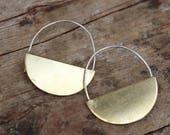 Brass Half Circle Hoop Earrings