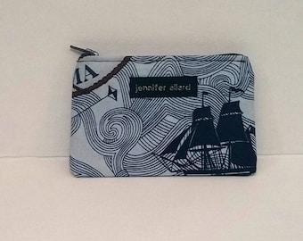 Handmade zip wallet - small - hey sailor nautical print