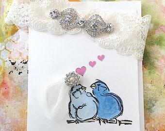Wedding Garter with Love Birds, Hand Painted Shower Gift Card,  Bridal Garters, Weddings, Garters, Something Blue, Bridal Cards