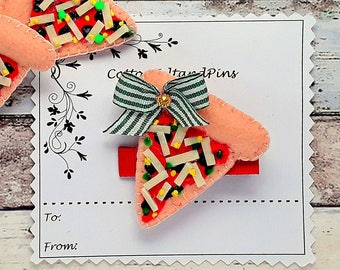 Pizza slice hair clip, Handmade Felt lightly padded hair clip or hair tie, Pizza slice bobble,Pizza barrette,Single/pairs