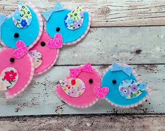 Hair Clips, Felt Love Birds hair clip, Felt Love birds barrette,Felt kissing birds, birdy brooch pin