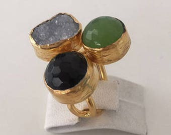 Triple Gold plated   Druzy, Onyx, Jade  ring
