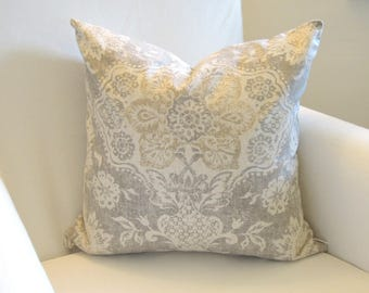 Fleur de Lis Pillow Covers, Grey, Gold, 14x14, 16x16, 18x18, French Country, Light Gray, Toss Cushion