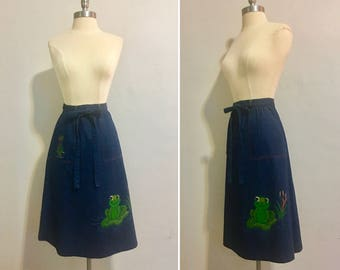 Vintage 1970's Denim Wrap Skirt with Hand Painted Frog Adjustable Waist