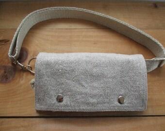 Linen and Hemp Minimalist belt Bag Mini Messenger Natural dye phone wallet travel everyday Beach iphone passport organization Natural Style