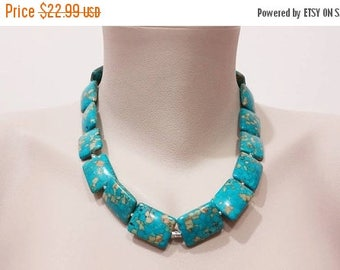 ON-SALE Rectangle Mosaic Turquoise Jewelry, Turquoise Necklace,  Statement Neckace, Gemstone Handmade Jewelry