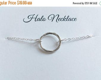 ON-SALE Modern Halo Necklace - Karma, Eternity, Infinity, Circle, Ring - Handmade Sterling Silver Necklace