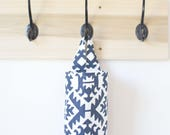Fabric Plastic Bag Holder in Aztec Pawnee Navy Blue