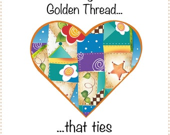 Quilter's Wisdom - Patchwork Heart Fabric Art Panel