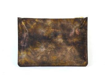 Coralie - Handmade Bronze Iridescent Leather Clutch Bag Zip Pouch Purse AW17