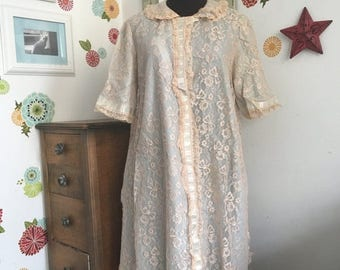 SALE Vintage Lace Robe, Odette Barsa Bed Jacket, Lord and Taylor Vintage Lace Bed Coat