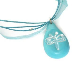 Dragonfly Pendant, Dragonfly Necklace, Turquoise Dragonfly, White Dragonfly, Turquoise Clay Pendant, Fimo Pendant, Polymer Clay Dragonfly